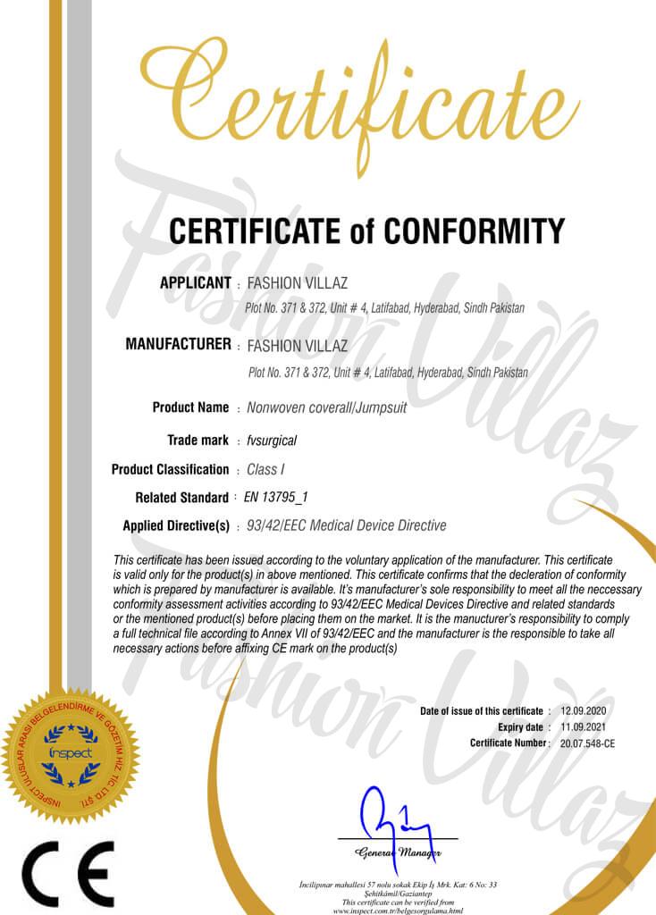 Nonwoven coverall Jumpsuit ce-certification Fashion Villaz Pakistan