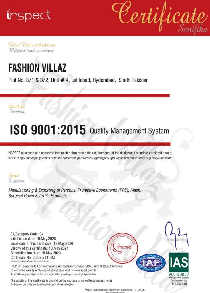 ISO Quality Management System Fashion Villaz Pakistan