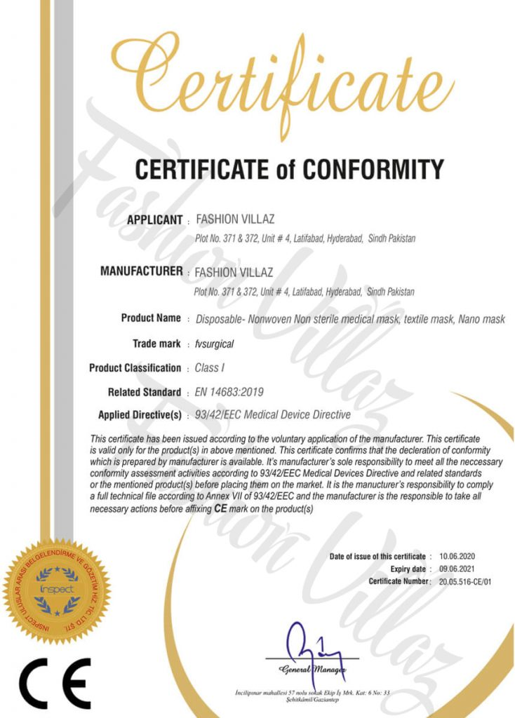 CE Disposable Nonwoven Non-Sterile Medical Textile Nano-Masks Certification Fashion Villaz Pakistan
